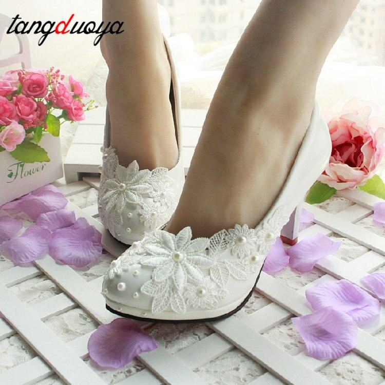 Kwiat biały pompy New arrival damskie buty ślubne panna młoda wysokie obcasy platformy buty dla kobiety panie party dress buty kobieta hig