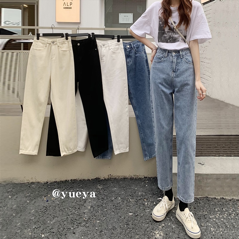 Crescent City Retro High Waist Jeans Women's Summer 2021 Korean Style Simple and Casual Versatile Lo