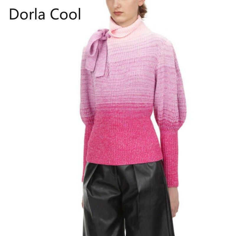 High street designer feminino auto retrato camisola doce gradiente tartaruga pescoço arco malha jumper femme festa chique topos pullovers