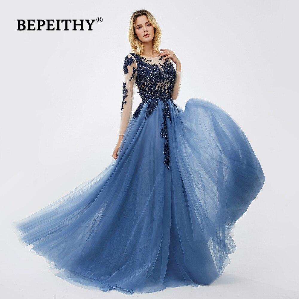Bepeithy vestidos de festa longa noite azul 2020, vestido de festa de renda, mangas compridas 2020