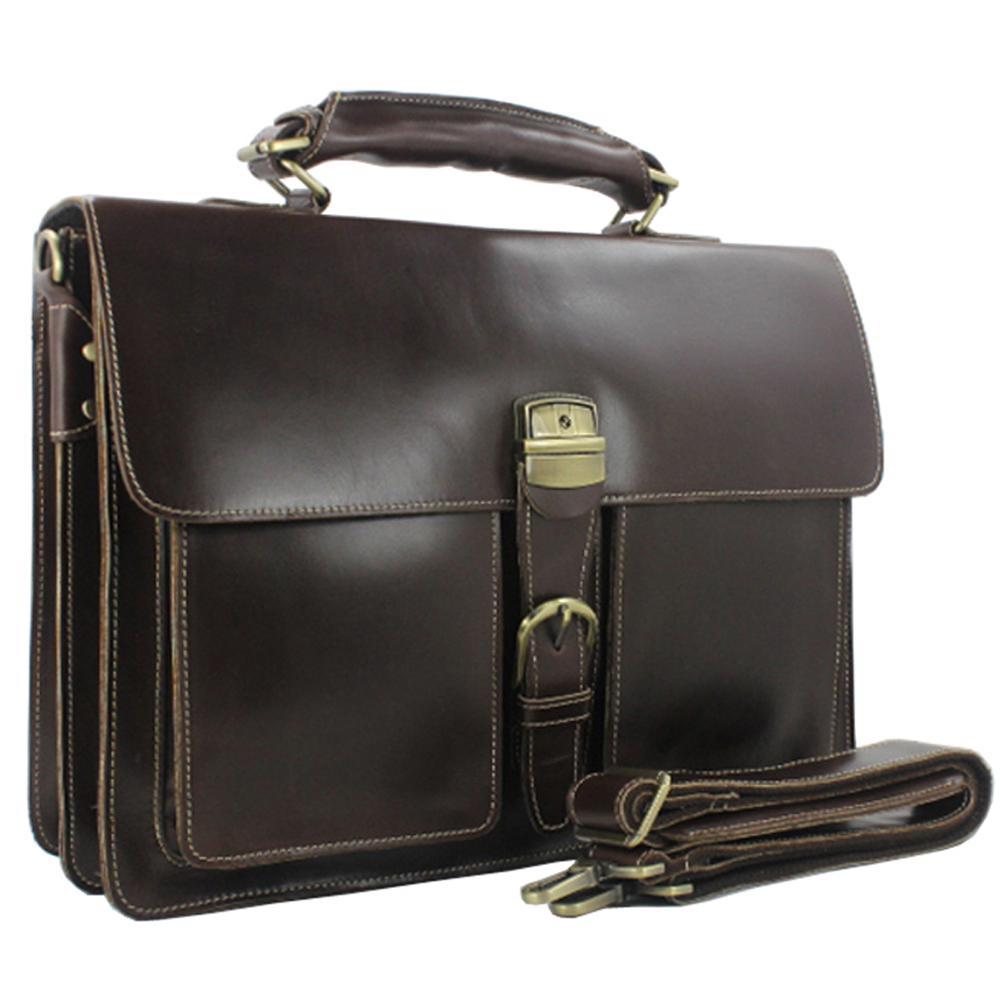 Luxury Genuine Leather Men Briefcase laptop Bag 15 6 Brief case Big Business male Office Work