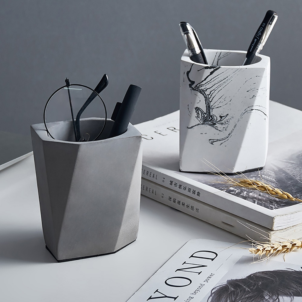 New Concrete Mold Handmade Pen Holder Silicone Cement Mould Desktop Simple Decorative Tool