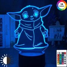 3d Led Night Light Star Wars Baby Yoda Meme Figure Nightlight for Kids Child Bedroom Decor Table Lamp Baby Night Light Mini Yoda
