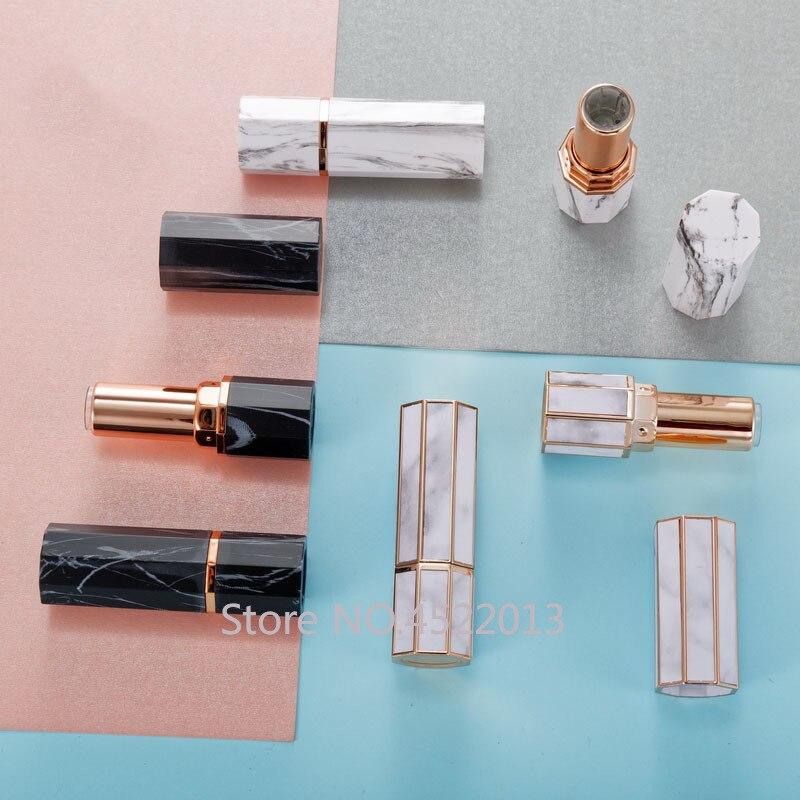 10/30/50 Uds 12,1mm mármol blanco negro oro borde ocho lados vacío lápiz labial tubo bálsamo labial contenedor cosméticos carcasa rellenable