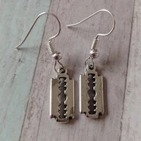 mens blade earrings ladies punk acrylic rock razor blade earrings fashion jewelry gift souvenirs