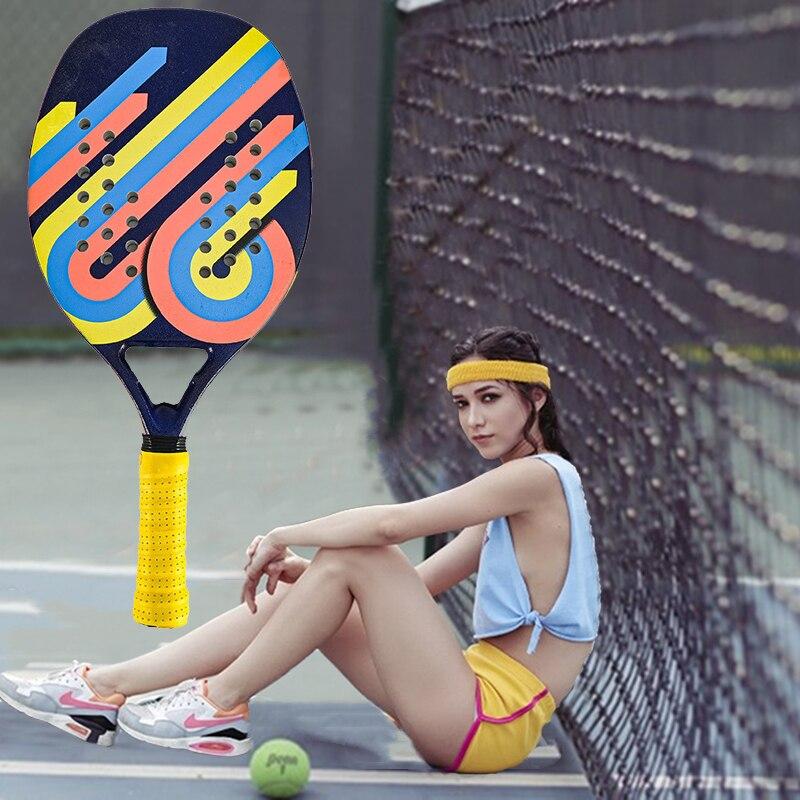 Professional Full Carbon Beach Tennis Paddle Racket Soft EVA Face Pickleball Raqueta with Bag for Adult Tennis Racquet Equipment
