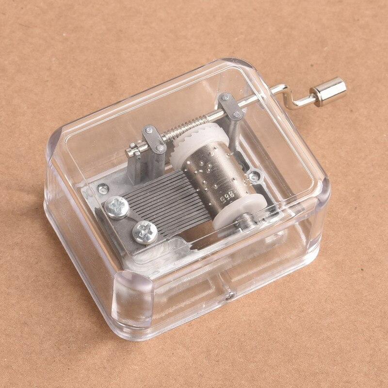 Caja de música con manivela manual, Mini caja de música transparente de plástico rectangular DIY con movimiento C44