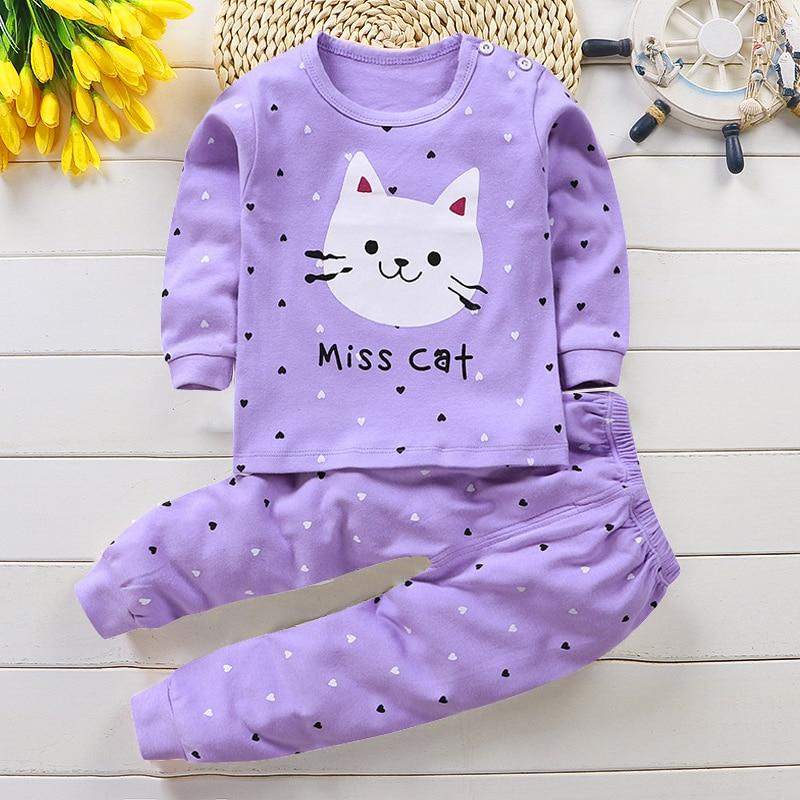 Pijamas de otoño para niños Pijamas de mezcla de algodón de manga larga conjunto de ropa de animales de dibujos animados Pijamas de bebé conjunto de Pijamas ropa de dormir