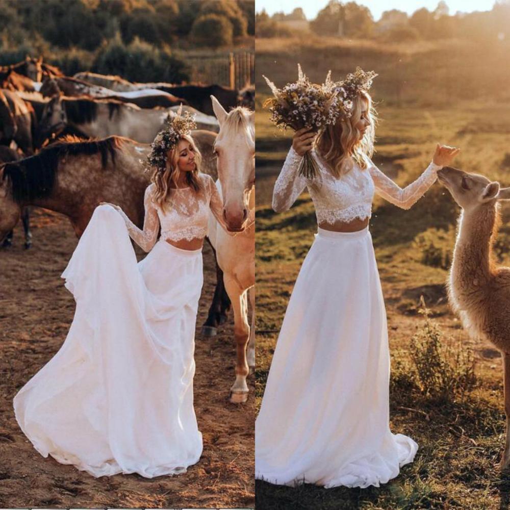 2020 Two Pieces Wedding Dresses Jewel Neck Appliques Lace Boho Wedding Dress Bohemian A Line Long Sleeve Vestidos De Novia