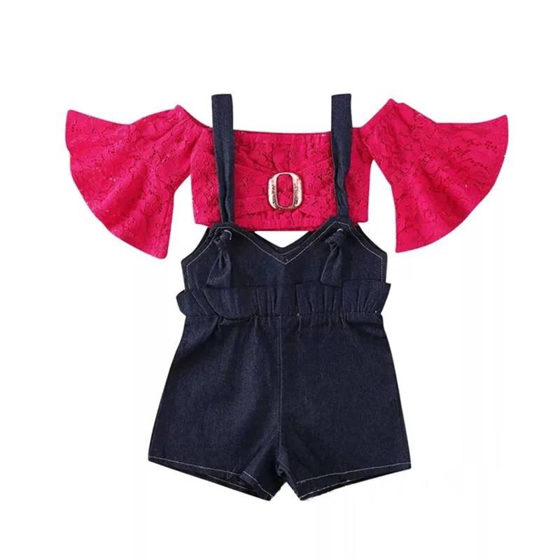 Moda de verano 2020, conjunto de ropa para niña, Top de encaje con mangas acampanadas y tirantes de pantalones vaqueros, traje de 2 uds para niños pequeños