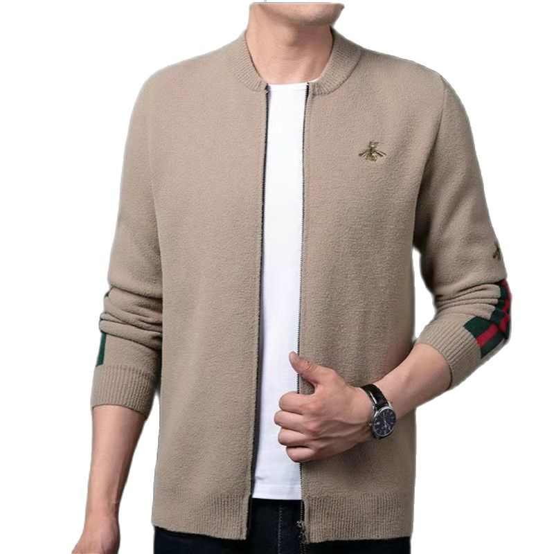 Men s Spring and Autumn New Knitwear Solid Color Jacket Cardigan Baseball Collar Embroidered Casual