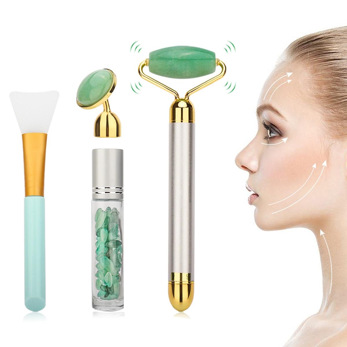 Eléctrica de Jade de rodillos de masaje herramienta para un levantamiento de rostro de cuarzo rosa de adelgazamiento Natural Jade rodillo masajeador Facial conjunto de herramientas