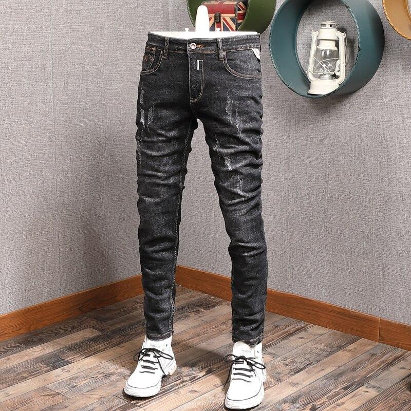 Европейские американские уличные модные мужские джинсы ретро черные серые зауженные рваные джинсы мужские потертые винтажные дизайнерски...