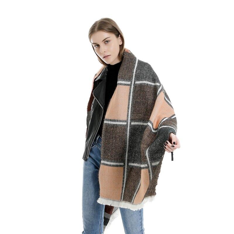 Hirigin primavera Otoño Invierno mujer Lana a cuadros bufanda mujer Cachemira bufandas Lattices chal largo abrigo manta Tippet cálido