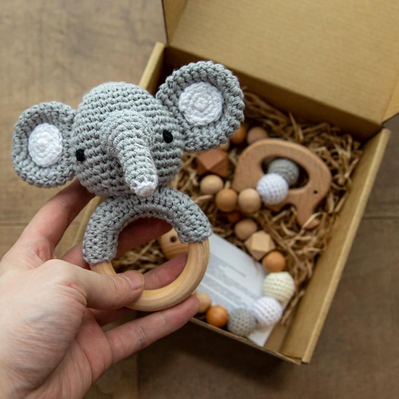 1set Wooden Baby Rattle Toys Crochet Elephant Bells Music Teething Rodent Bracelet Pacifier Clips Ne