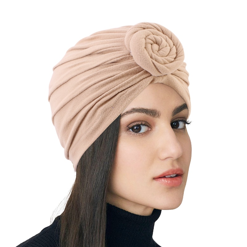New Muslim Top Knotted Hat Turban With Silky Satin Linning Hijab Headscarf Headwrap Ladies Chemo Cap India Hat Hair Accessories