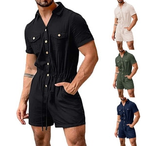 Fashion Men's Short-sleeved One-piece Suit  Casual Solid Shorts Drawstring Button Top Chandal Hombre Invierno Male Sportsuit