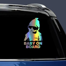 BABY ON BOARD Car Stickers 14*9CM New Funny Reflective Sunglasses Child Stickers for Baby in Car Dec