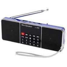 Mini Portable Rechargeable stéréo L-288 FM Radio haut-parleur LCD écran Support TF carte USB disque MP3 lecteur de musique haut-parleur (bleu)