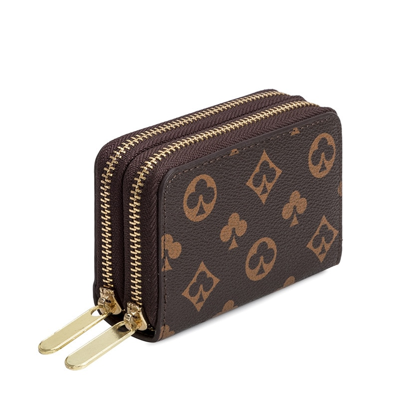 Short wallet zipper card bag ladies fashion credit card coin purse small print female clutch bag sma