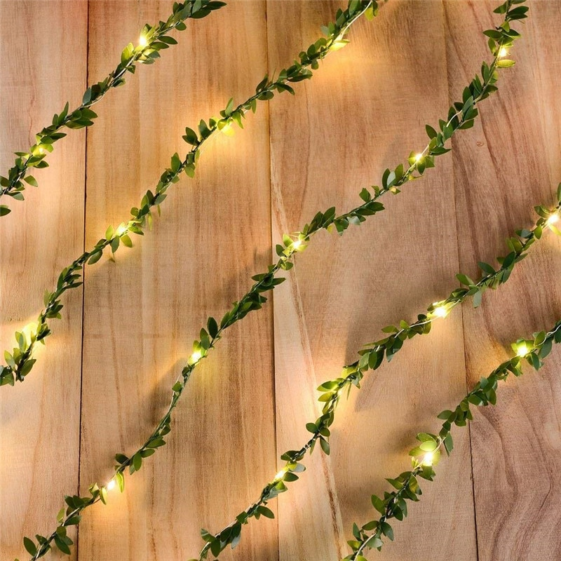2pcs Green Leaf STring Lights 5m 50 leds with Flash Warm White Tiny Green Leaf Garland Fairy String Lights for Christmas Party 1