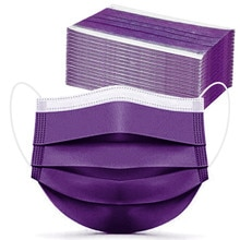 100pc Purple Disposable Face Mask 3 Layers Ear Loop Non-woven Mouth Mask Protective Masks Halloween