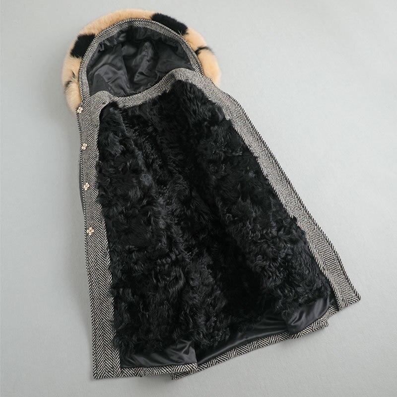 معطف فرو حقيقي للنساء من Parka معطف من فرو الغنم الطبيعي معطف من الصوف معطف شتوي للنساء ياقة من فرو الثعلب معاطف من الصوف التويد MY4360