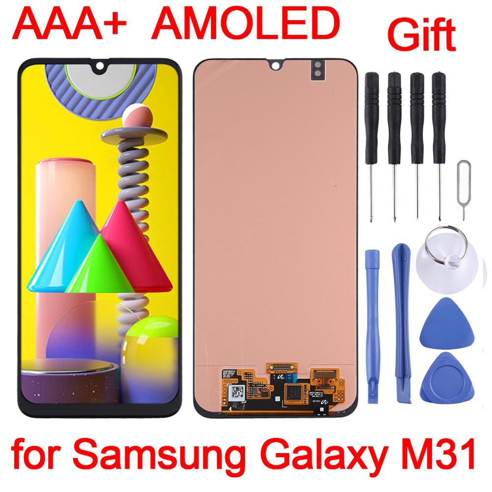 شاشة Super AMOLED LCD مقاس 6.4 بوصة لجهاز Samsung Galaxy M31 ، حامل محول رقمي كامل