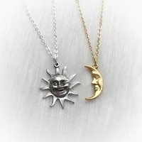 sun and moon friendship soul mate necklaces vintage style facesmoon and sun necklace set