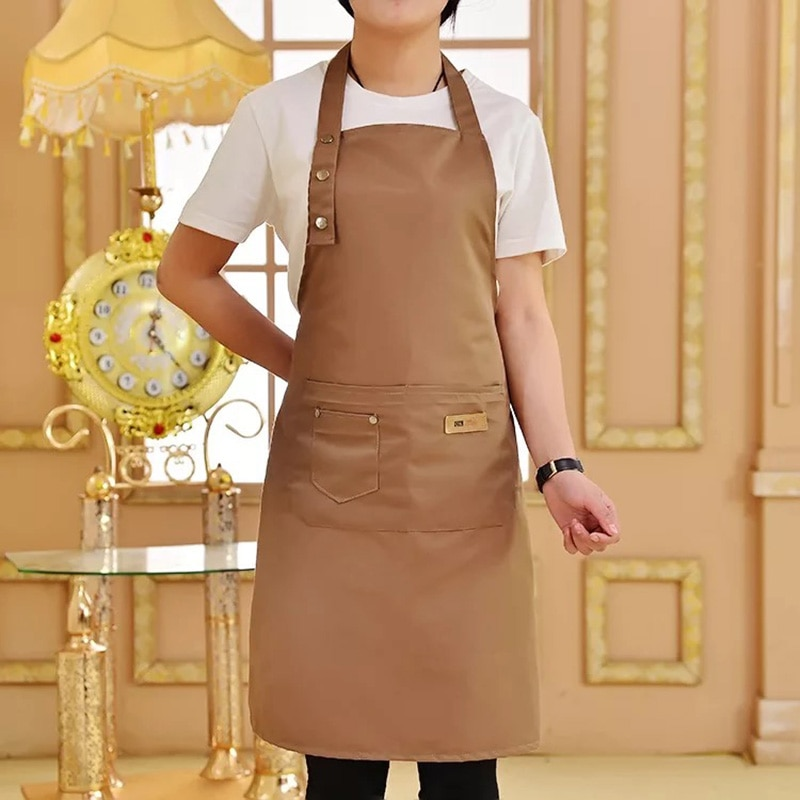 New Pure Color Cooking Kitchen Canvas Apron Unisex Woman Men Chef Waiter Cafe Shop BBQ Hairdresser Aprons enlarge