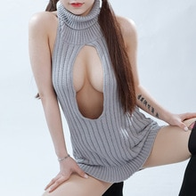 Vierge tueur pull femmes Sexy dos nu découpé pulls sans manches col roulé pull femme tricots épaules nues tricoté