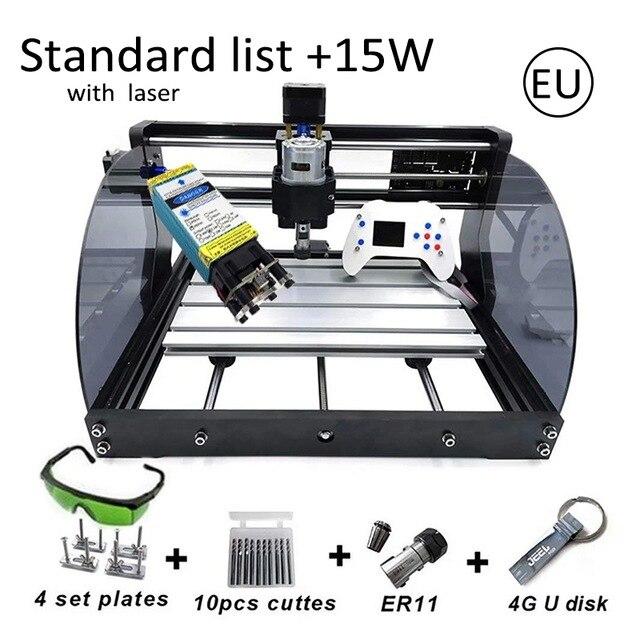 CNC3018 Pro Max máquina de grabado láser 500mw 2500mw 5500mw 15W cabeza con Control fuera de línea ER11 DIY CNC madera PCB maquina enrutadora