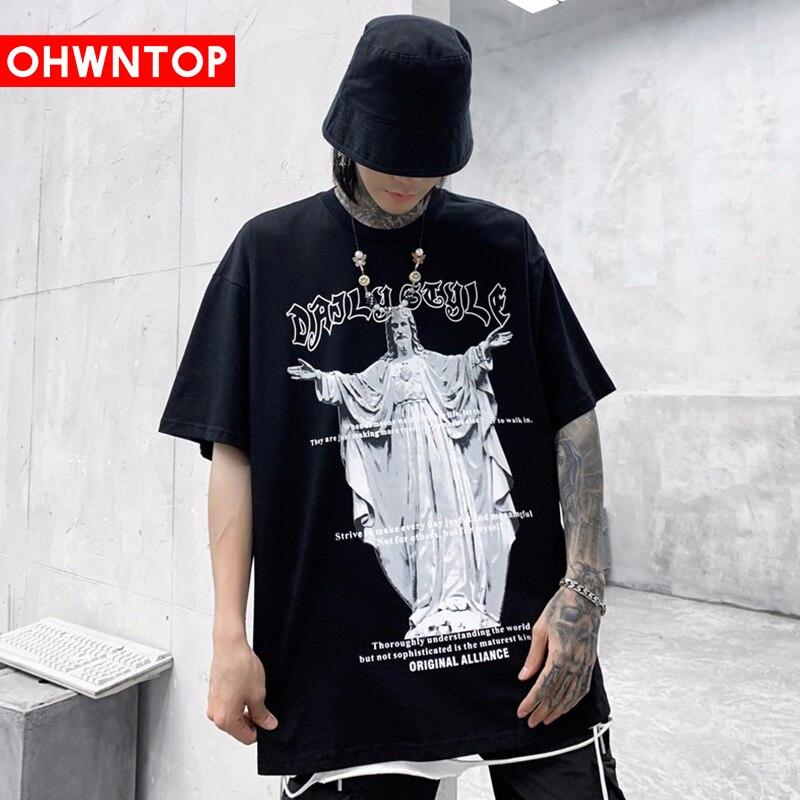Camiseta divertida de Hip-hop de estilo europeo y americano para hombre, camiseta de manga corta de algodón con estampado de escultura Medieval para verano