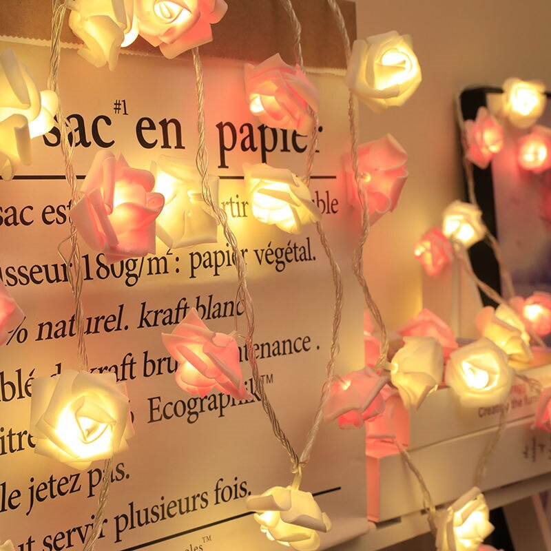 Гирлянда с 20 светодиодами в виде Розы, работающая от батарейки, романтическая гирлянда с цветами розы для Дня Святого Валентина, свадьбы, ко...