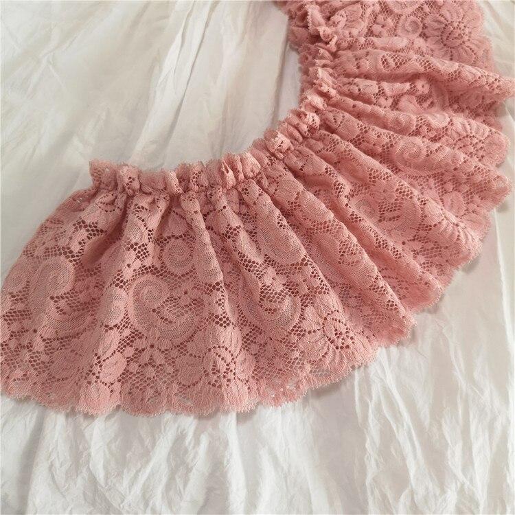 3 metros/lote 13cm de largura cor-de-rosa profundo plissado laço vestuário saia vestido cortina material do fundamento x528
