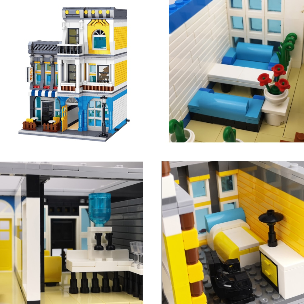 Creator Architecture Building Blocks City Street View Bricks Set Coffee Shop Kit Courtyard Hotel House For Kids Toys Gifts enlarge