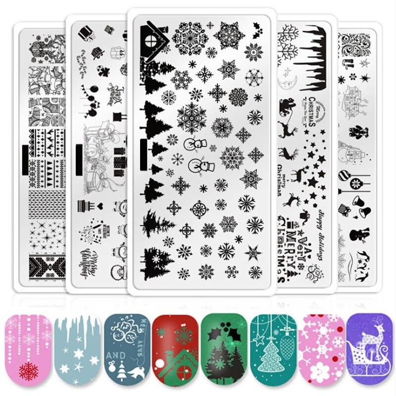Navidad Placa de impresión de uñas flor animal copo de nieve Santa Claus patrón geométrico arte de uñas imagen Plantilla de sello de encaje