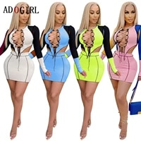 adogirl sexy hollow out tracksuit two piece set women bandage crop top skirt set fashion party club outfits matching sets