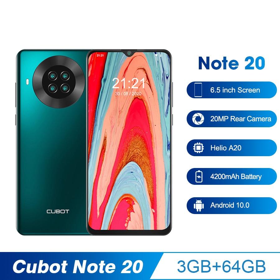 CUBOT Note 20 мобильный телефон, 3 ГБ + 64 ГБ, 6,5 дюйма, 4200 мАч, Google Android 10, две sim-карты, телефон, задняя камера, смартфон NFC