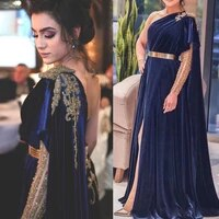 %d0%bf%d0%bb%d0%b0%d1%82%d1%8c%d0%b5 navy blue dubai evening dresses long a line velvet formal dress gold belt one shoulder leg split new design prom gowns