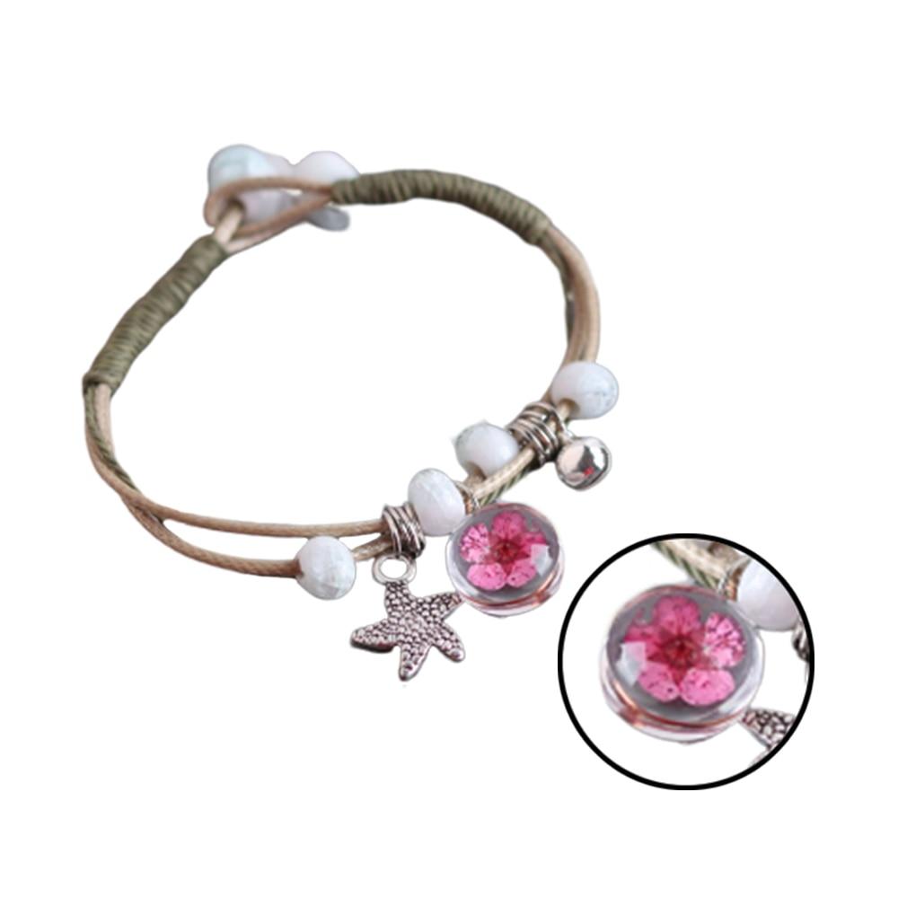 Brazaletes sencillos para mujer, brazaletes de muñeca, joyería, brazaletes ajustables, brazalete ajustable, Armadura de bola de cristal, flor seca hecha a mano