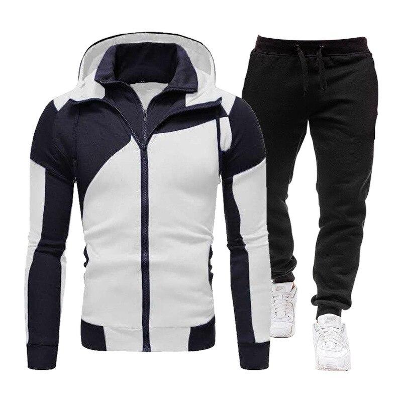 Новинка весна-осень, мужская спортивная одежда, однотонная новинка, мужская толстовка с капюшоном и брюки, модная спортивная одежда из двух ...