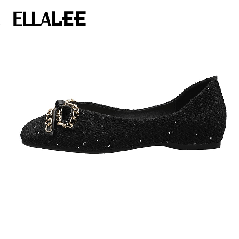 ELLALEE Women's Loafers Metal Decoration Shallow Flats Square Toe Butterfly Knot Spring Slip on Office Casual Ladies Shoe