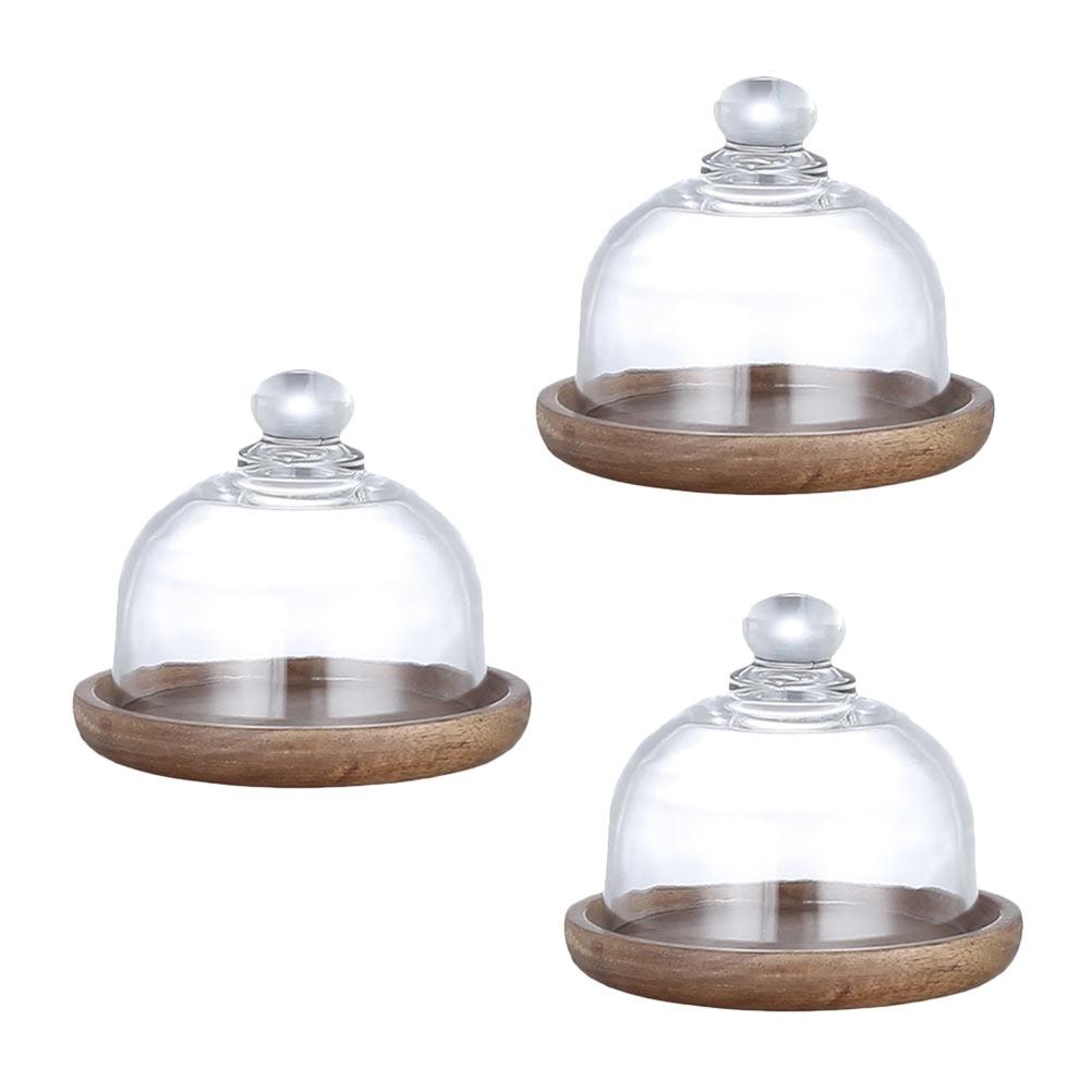 3 مجموعات الخشب الغذاء حامل كعكة صينية العرض طبق كعكة المحمولة طبق مع غطاء زجاجي