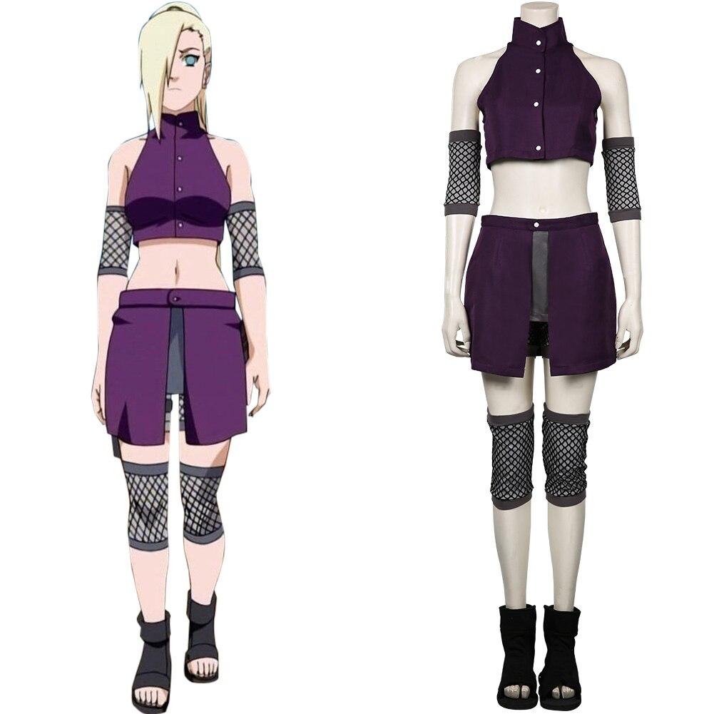 Anime naruto yamanaka ino cosplay traje topo shorts outfits halloween carnaval vestido terno
