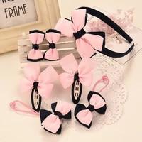 7pieces children head flower fabric bow headwear girl elastic headdress gift new