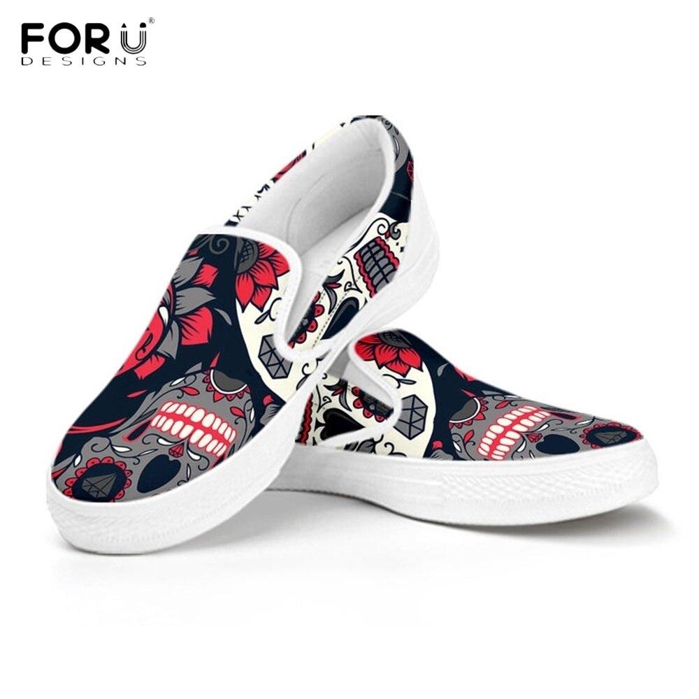 FORUDESIGNS Punk azúcar Skull Pattern Slip On zapatos mocasín informales mujer cómoda mujer Flats zapatillas punta redonda señoras zapatos