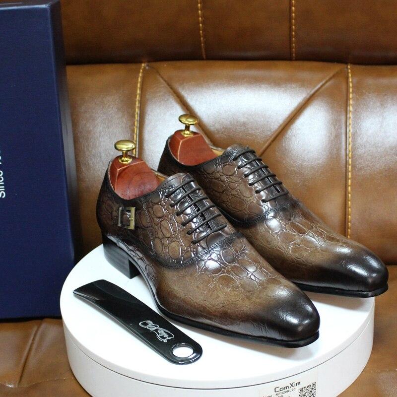 أحذية جلدية أصلية للرجال ، أحذية رسمية للعمل والمكتب ، أكسفورد ، مع مشبك ، لحفلات الزفاف ، خريف وشتاء 2020