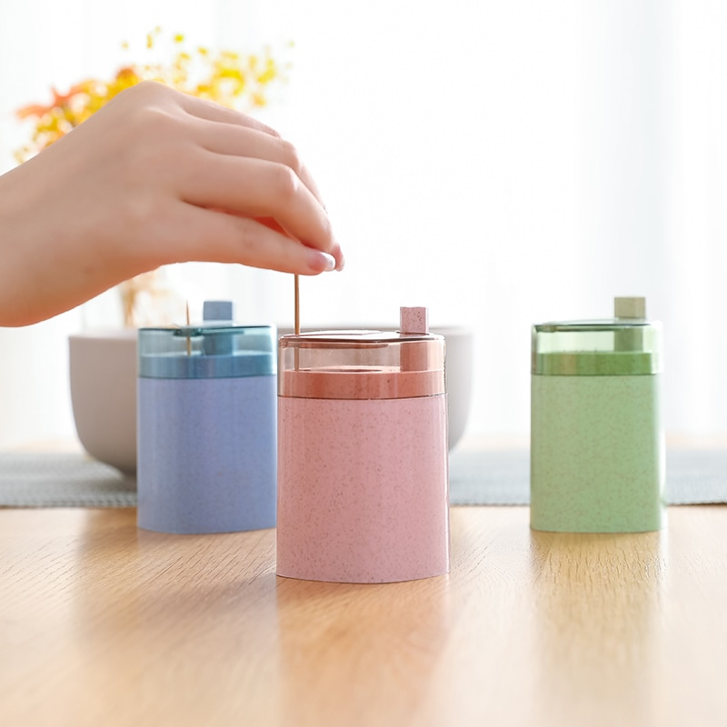 Automatic Toothpick Holder Container Wheat Straw Household Table Toothpick Storage Box Toothpick Dispenser cartoon frog toothpicks holder automatic toothpick container case creative toothpick box desktop toothpick holder home decor