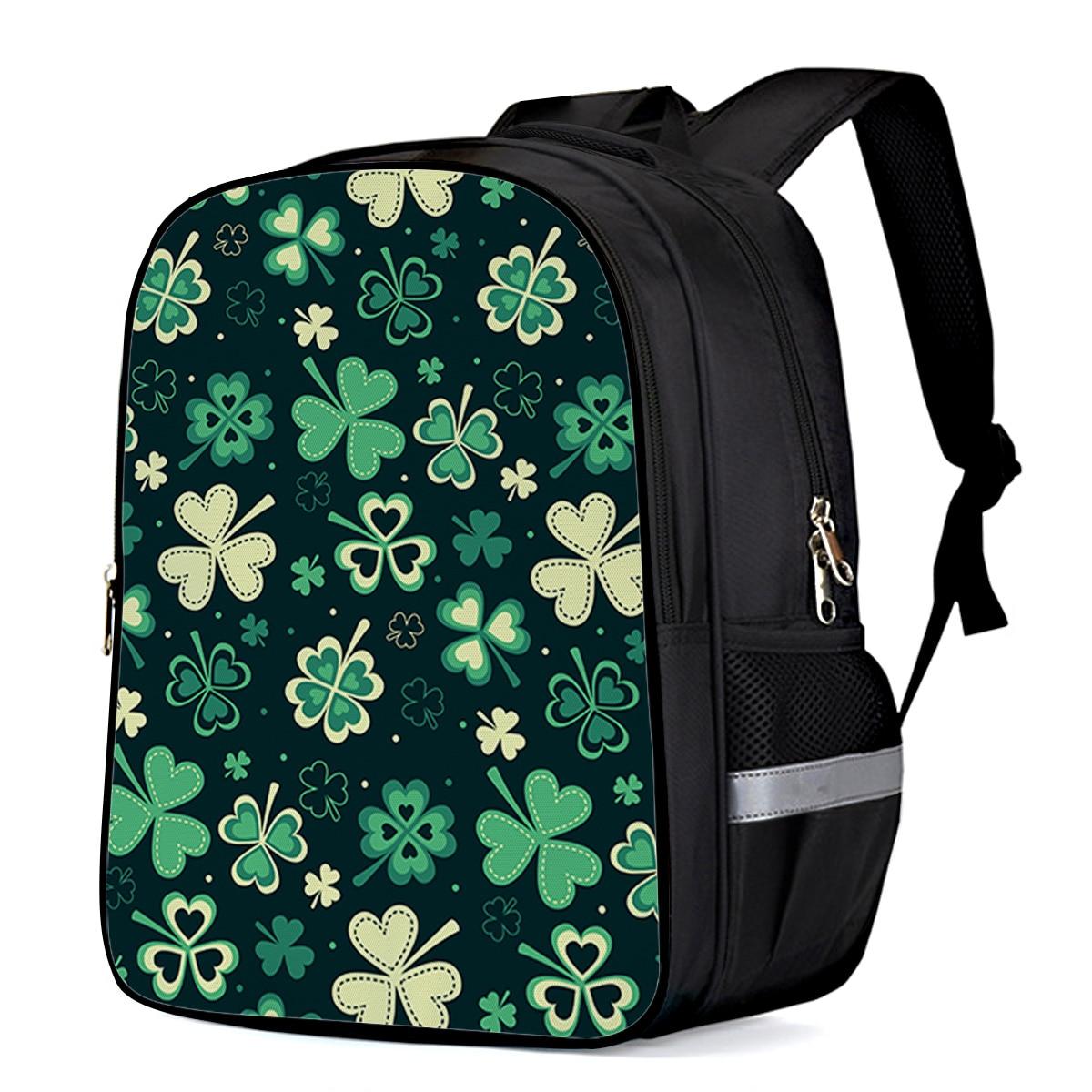 St. Patrick'S Day Clover Laptop Backpacks School Bag Child Book Bag Sports Bags Bottle Side Pockets School Student
